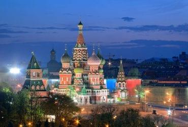 Russie, Cathédrale de Vasily sur la Place rouge à Mouscou, illustre les saveurs de Russie du supermarché oriental